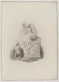 Die Fruchtbarkeitsgöttin der schönen Künste (Im Sockel Medaillon-Porträts von: Cooper,Godfrey Kneller, Mrs. Beale, James Thornhill, Hogarth), Robert Slann-1803 (Quelle: Digitaler Portraitindex)